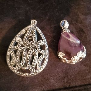 Lot of 2 Pendant Charms - Silver and Purple